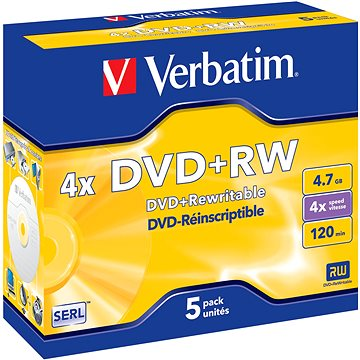 VERBATIM DVD+RW SERL 4.7GB, 4x, jewel case 5 ks (43229)