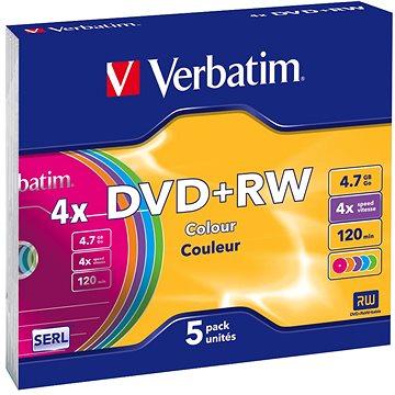 Verbatim DVD+RW 4x, COLOURS 5ks v SLIM krabičce (43297)