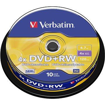 Verbatim DVD+RW 4x, 10ks cakebox (43488)