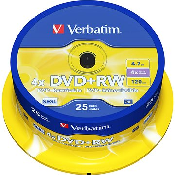 Verbatim DVD+RW 4x, 25ks cakebox (43489)
