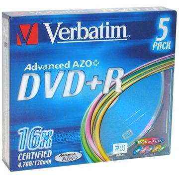 Verbatim DVD+R 16x, COLOURS 5ks v SLIM krabičce (43556)