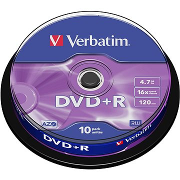 VERBATIM DVD+R AZO 4.7GB, 16x, spindle 10 ks (43498)