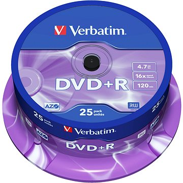 VERBATIM DVD+R AZO 4.7GB, 16x, spindle 25 ks (43500)