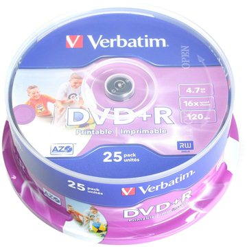 Verbatim DVD+R 16x Printable 25ks cakebox (43539)