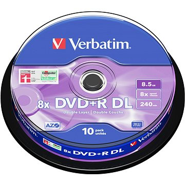 Verbatim DVD+R 8x, Dual Layer 10ks cakebox (43666)