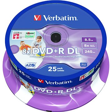 Verbatim DVD+R 8x Dual Layer Printable 25ks cakebox (43667)