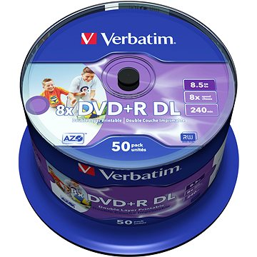Verbatim DVD+R 8x, Dual Layer Printable 50ks cakebox (43703)