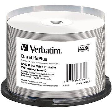 VERBATIM DVD-R DataLifePlus 4.7GB, 16x, printable, waterproof, spindle 50 ks (43734)
