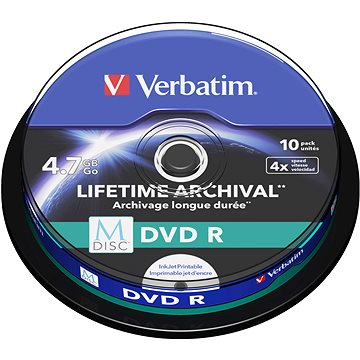 VERBATIM M-DISC DVD-R 4.7GB, 4x, printable, spindle 10 ks (43824)
