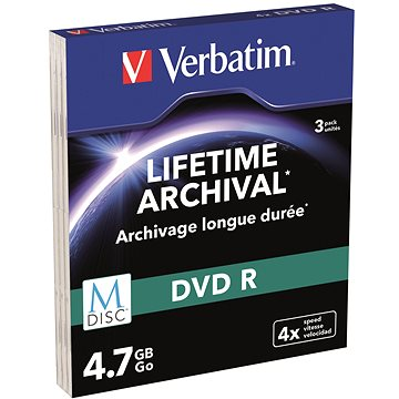 VERBATIM M-DISC DVD-R 4,7GB, 4x, printable, slim case 3 ks (43826)