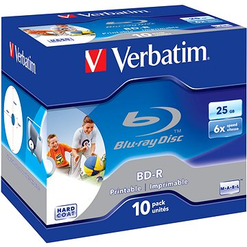 VERBATIM BD-R SL 25GB, 6x, printable, jewel case 10 ks (43713)