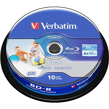 Verbatim BD-R LSL 25GB Printable, 10ks cakebox (43804)