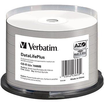 VERBATIM CD-R 80 52x PRINT. Wide Silver Inkjet spindl 50pck/BAL (43653)