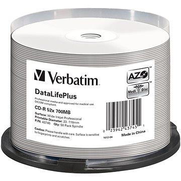 VERBATIM CD-R DLP 80min. 52x WIDE Profesional Printable 50-cake (43745)