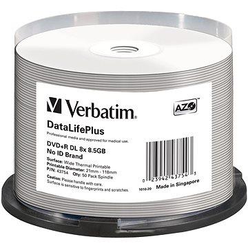 VERBATIM DVD+R DL DataLifePlus 8.5GB, 8x, thermal printable, spindle 50 ks (43754)