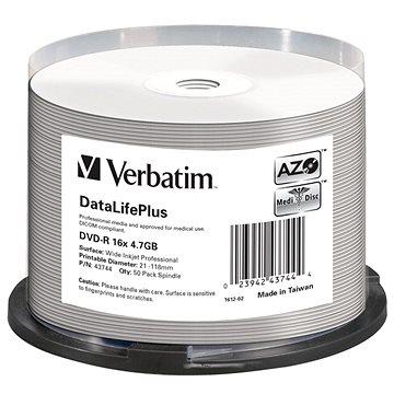 VERBATIM DVD-R DataLifePlus 4.7GB, 16x, printable, spindle 50 ks (43744)