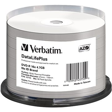 VERBATIM DVD-R DataLifePlus 4.7GB, 16x, thermal printable, spindle 50 ks (43755)