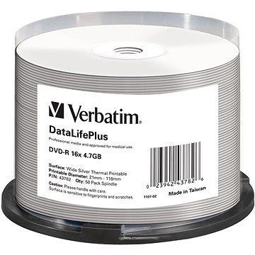 VERBATIM DVD-R DataLifePlus 4.7GB, 16x, silver thermal printable, spindle 50 ks (43782)