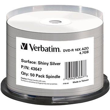 VERBATIM DVD-R DataLifePlus 4.7GB, 16x, shiny silver thermal printable, spindle 50 ks (43647)