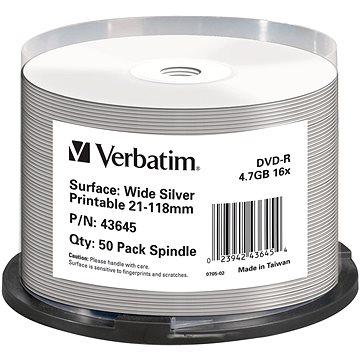 VERBATIM DVD-R DataLifePlus 4.7GB, 16x, silver inkjet printable, spindle 50 ks (43645)