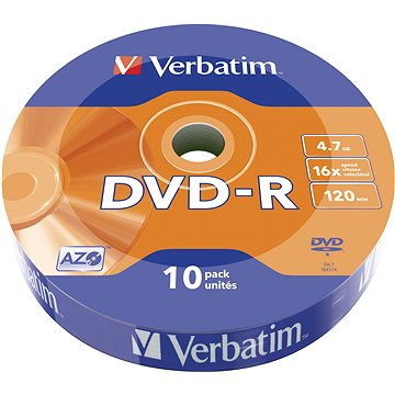 VERBATIM DVD-R AZO 4.7GB, 16x, wrap 10 ks (43729)