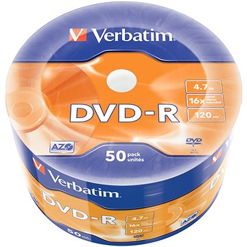 VERBATIM DVD-R AZO 4.7GB, 16x, wrap 50 ks (43788)