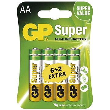 GP Super Alkaline LR6 (AA) 6+2ks v blistru (B13218)