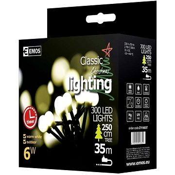 EMOS LED vánoční cherry řetěz – kuličky, 30m, teplá bílá, časovač (8592920028391)