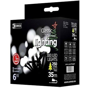 EMOS LED vánoční cherry řetěz – kuličky, 30m, studená bílá, časovač (8592920028438)