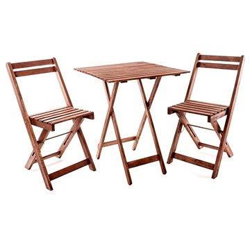 Happy Green Balkonový dřevěný set ACACIA, čtvercový stůl (37BSRETXFCH)
