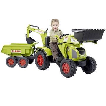 Šlapací traktor Claas Axos s přední i zadní lžící a vlekem (3016201010233)