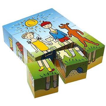 Topa dřevěné kostky kubus - Pejsek a kočička 12 ks (8590951302060)