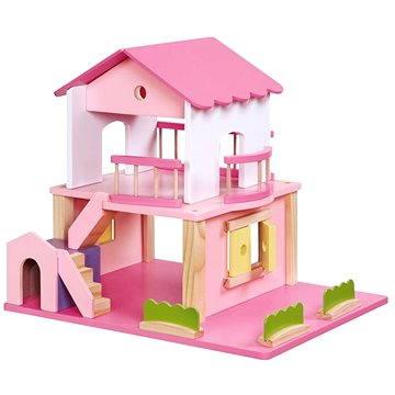 Drevený domček pre bábiky - ružový (4020972022288)