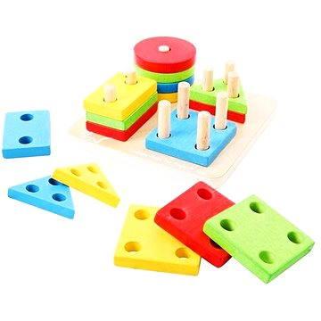 Dřevěná motorická hračka - Nasazování tvarů na tyče (691621530948)