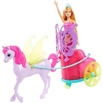 Barbie princezna v kočáru a pohádkový kůň (0887961813227)