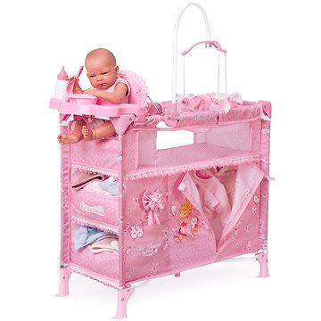 DeCuevas Toys Skládací postýlka pro panenky s 5 funkčními doplňky Maria 2018 (4897022530235)