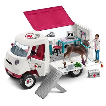 Schleich 42370 Mobilní veterinářská klinika s klisnou a ošetřovatelem (4055744013850)