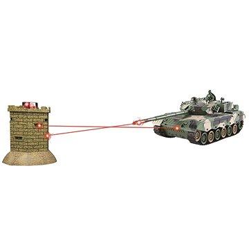 Bojující RC tank 1:28 - interaktivní IR bitva Leopard II vs pevnost (8595582226945)
