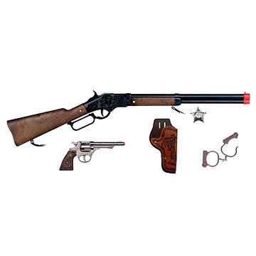 Kovbojská sada velká - puška, revolver, pouta, šerifská hvěz (8410982049805)