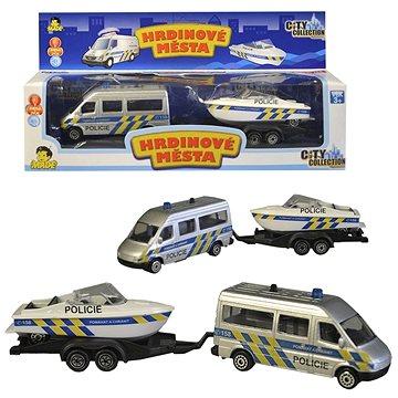 Policejní auto s přívěsem a lodí (8590756993289)