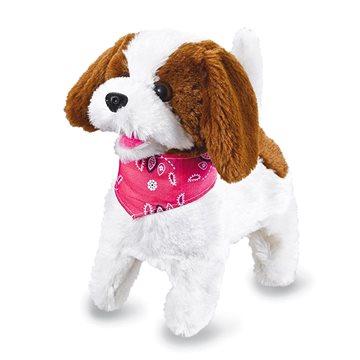 Jamara plyšový pes, bílo-hnědý na dálkové ovládání (4042774445157)