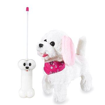 Jamara plyšový pes, bílo-růžový na dálkové ovládání (4042774445164)