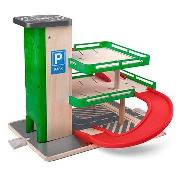 Woody Garáž s výtahem a SIKU autíčky - dřevo/plast (8591864930708)