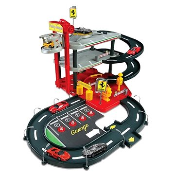 Bburago Ferrari Race & Play Parking Garage + 4ks auto Ferrari 1:43 (4893993312184)