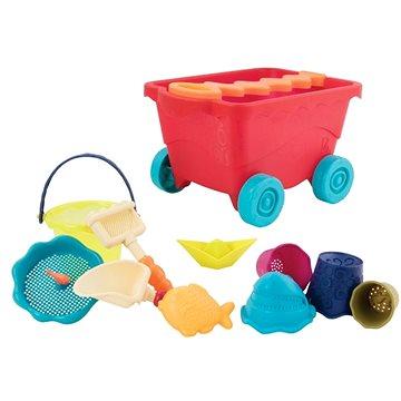 Vozík s hračkami na písek červený (62243330108)