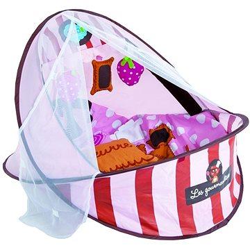 Ludi Cestovní postýlka / deka s hrazdou růžová (3550839928183)