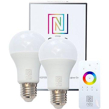 Immax Neo E27 8,5W teplá bílá, stmívatelná, 2ks + ovladač (07001BD)