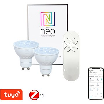 Immax Neo GU10 4,8W teplá bílá, stmívatelná, 2ks + ovladač (07003BD)