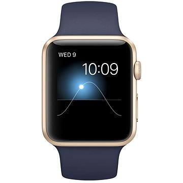 Chytré hodinky Apple Watch Sport 42mm Zlatý hliník s půlnočně modrým řemínkem (MLC72VR/A)