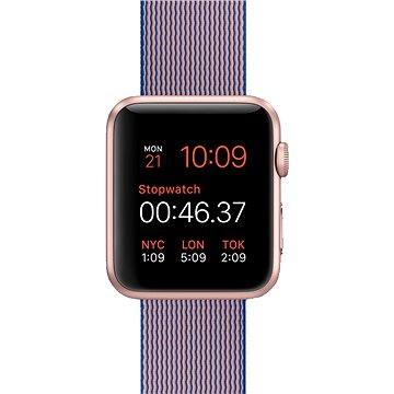Chytré hodinky Apple Watch Sport 42mm Růžově zlatý hliník s královsky modrým řemínkem z tkaného nylonu (MMFP2HC/A)